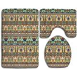GABRI Ägyptische ethnische Motive Blume Skarabäus Figuren 3 Stück Badmatte Set Sockelmatte Deckel Toilettenbezug Badematte Fußmatte Teppich Teppich