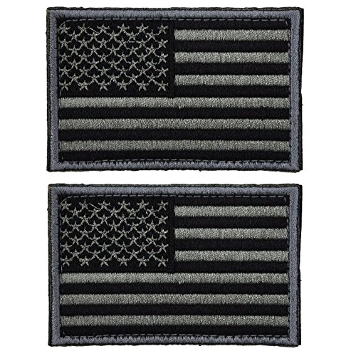4 Pieces Tactical USA Flag Patch -Black & Gray- American Flag US United States of America Military Uniform Emblem Patches