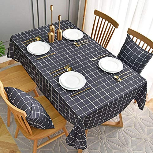 QSYT Tischdecke, pflegeleicht, kariert, Baumwolle, Leinen, abwischbar, strapazierfähig, schmutzabweisend, für Zuhause,...