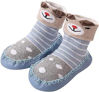 Niños Calcetines Antideslizantes con Suela de Goma Anti-slip Zapatos de Primer Paso para Bebés Zapatillas de Casa para Invierno Baby Socks 0-24 Meses
