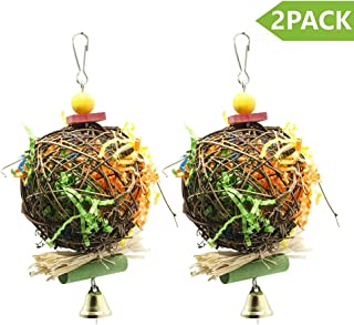 PINCHUANG 2 Pack Bird Chewing Toys Foraging Shredder Toy Parrot Cage Shredder Toy Foraging Hanging Toy for Cockatiel Conure African Grey Amazon