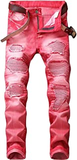 Lavnis Men's Vintage Casual Ripped Slim fit Denim Jeans
