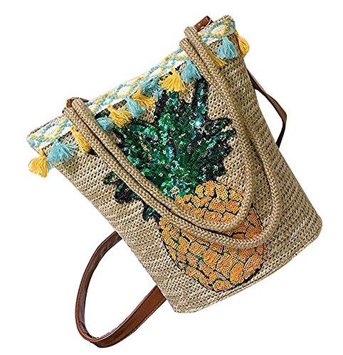 Moda bolso de paja hecha a mano playa de verano bolsa de lentejuelas bolsa [Piña]