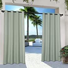 Exclusive Home Curtains Indoor/Outdoor Solid Cabana Window Curtain Panel Pair with Grommet Top, 54x84, Seafoam, 2 Piece