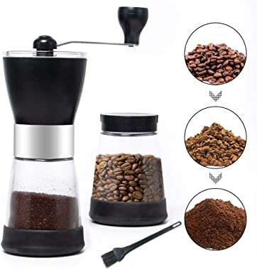 MDCGFOD Manual Coffee Grinder with 2 Glass Coffee Containers 5.5 oz for Ground Coffee Bean Grinder Machine Spice Grinder Mill with Ceramic Burr Grinder for Fine&Coarse Grind
