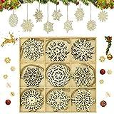 OTTYMO 27 Pcs Copo de Nieve de Madera de Navidad Adornos Arbol Navidad Madera Colgante de Navidad 9 Formas de Copo Original y Bonito Adornos Navideños para Decoracion de Árbol de Navidad, Diametro:9cm