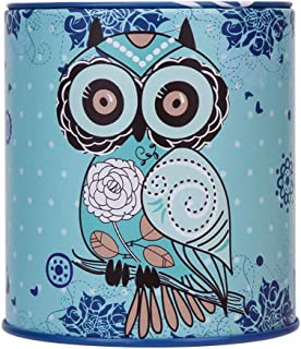 ZuanYin Functional Owl Shape Jewelry Box Pen Container Personalise Series Tin Plate Gift Money Saving Pot Coin Box Storage Box Square None blue