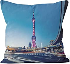 Nine City Beautiful Modern Cityscape at Night in Shanghai Burlap Pillow,HD Printing for Couch Sofa Bedroom Livingroom Kitchen Car,28