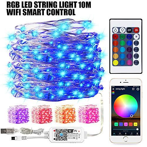 Smart LED WiFi USB-Lichterketten mit RGB Controller, 10Meter 100LED 16 Million Farben Dimmbar Wasserdicht Leuchtmittel, Wecker, Kompatibel mit Google Home und IR Fernbedienung für Weihnacht, Party