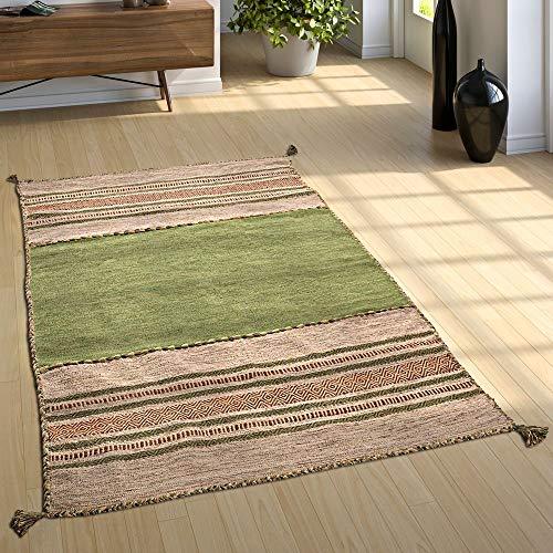 Paco Home Designer Teppich Webteppich Kelim Handgewebt 100% Baumwolle Modern Gemustert Grün, Grösse:60x110 cm