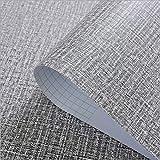 Yija Self-Adhesive Linen Gray Pattern Waterproof Shelf Drawer Liner Cabinet Sticker,Wallpaper 15.6Inch by 98Inch