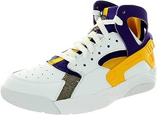 Nike Kids Air Flight Huarache (GS) White/Unvrsty Gold/Crt Prpl Basketball Shoe 5.5 Kids US