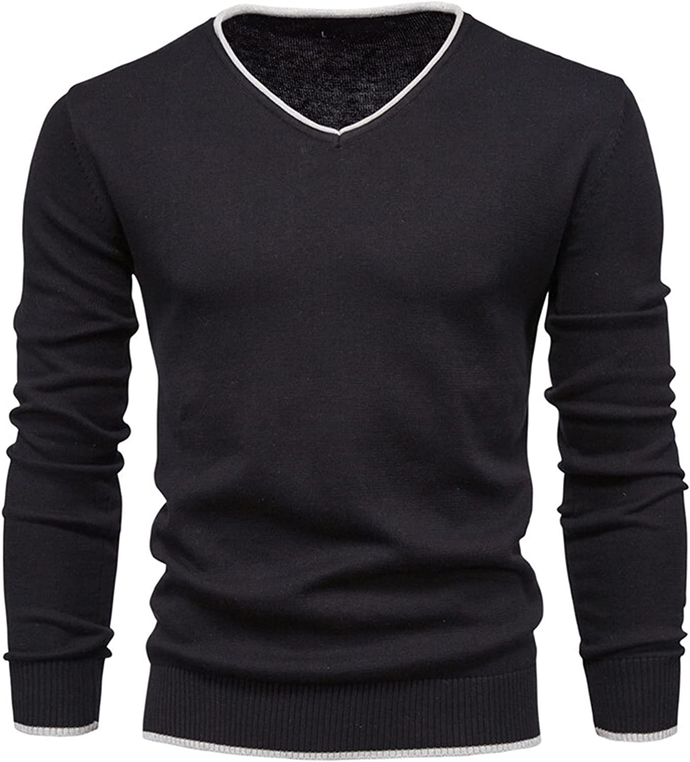 Zzalo Men Autumn Sweater V-neck Pullovers Cotton Solid Color Long Sleeve Slim Sweaters Men Navy Knitwear