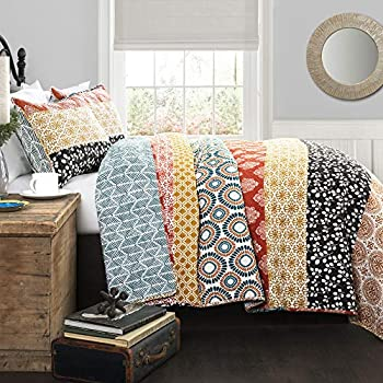 Lush Décor Bohemian Striped Quilt Reversible 3 Piece Colorful Boho Design Bedding Set Full/Queen Turquoise