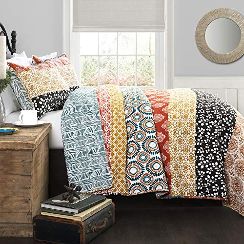 Lush Décor Bohemian Striped Quilt Reversible 3 Piece Bedding Set, King, Turquoise