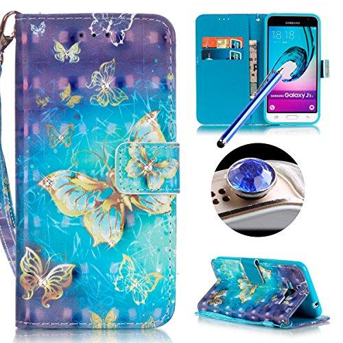 Samsung Galaxy J3(2016) Housse Coque de Téléphone, Etsue Cute Mode Colorful Design Flip Housse PU Cuir Coque Stand Housse de Protection pour Samsung Galaxy J3(2016),Coque est Bookstyle Folio Motif [dorée de papillon] et Cristal Cloutés pour Samsung Galaxy J3(2016) Joindre 2 x Corde + 1 x Bleu stylet + 1 x Bling poussière plug (couleurs aléatoires)