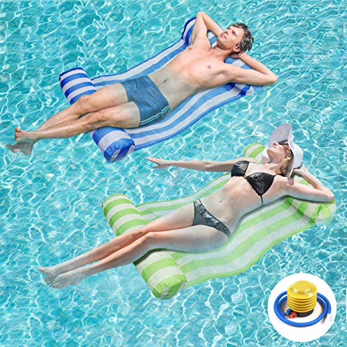 RACPNEL Pool Float Inflatable Water Hammock for Adults 2-Pack (Blue & Green) Multi-Purpose Portable Swimming Pool Lounge Chair Comfortable Floating Lounger