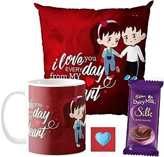 YaYa cafe Valentine Gifts Combo for Husband Wife Girlfriend Boyfriend Mug, Cushion Cover, 1 Dairy Milk Silk Chocolates (60...