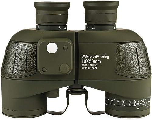 HOUYAZHAN Jumelles Anti-buée 10x50 avec Boussole de coordonnées pour Adultes, Jumelles Compact HD Professional lentille FAK BAK4 Prism, pour l'extérieur