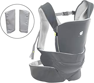 Cococho Baby Carrier- Safe, Ergonomic & The Most Easy to Wear in Front & On The Back. from Infant to Toddler. Includes Teething Pads. (Grey)