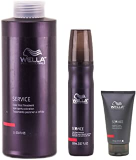 Wella Professionals SERVICE Color Treatment Trio Kit (Preguard Cream 2.53 oz., Color Stain Remover 5.07 oz. & Color Post Treatment 33.8 oz.)