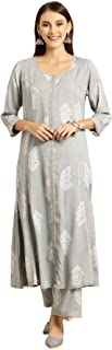 Soch Women's Rayon a-line Salwar Suit Set