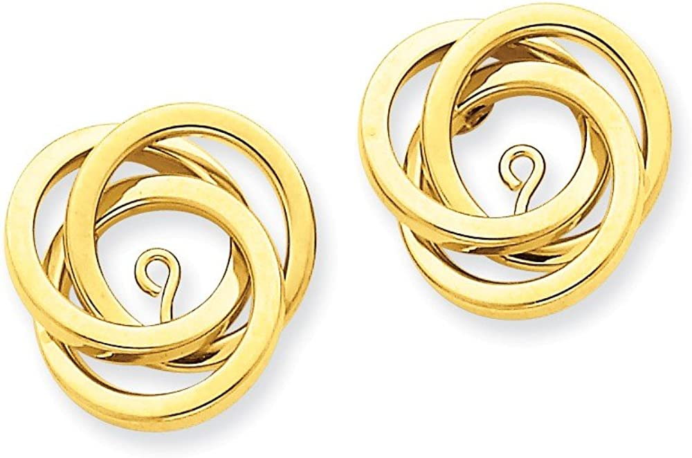 Genuine 14k Yellow Gold Polished Love Knot Earring Jackets 18x16mm