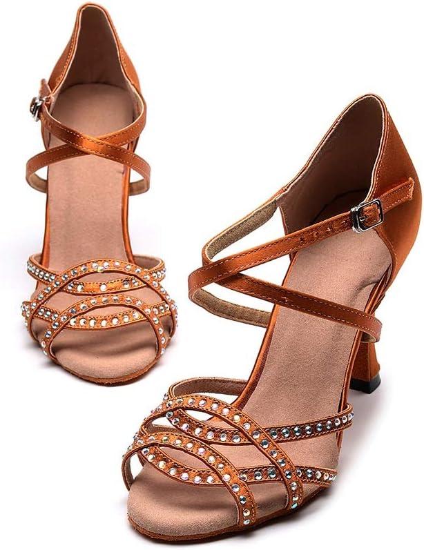 Dancing Shoes Ballroom for Girls,Non-Slip Suede Sole Dance Shoes,Wedding Ballroom Ladies Latin Salsa Dance Shoes (Color : Brown, Size : US10.5/EU43/UK9.5)