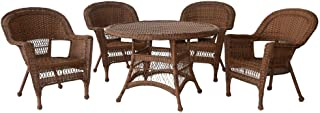 Jeco 5 Piece Wicker Dining Set with Brown Cushions, Honey