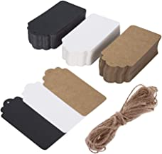 Rectangular Gift Tags with 33 ft Natural Jute Twine, 150 pcs Three Colors Black White Brown Free Editable Blank Gift Labels for Christmas Wedding Birthday Thanksgiving Gift