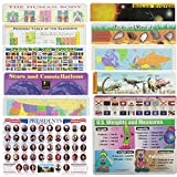 Painless Learning Educational Placematsfor Kids USA World Maps, Presidents, World Flags, States Flags, Solar System, Stars, Rocks, Human Body, Periodic Table, Dinosaurs, U.S Wights and Measures 12 PK