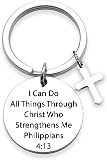 Christian Keychain I Can Do All Things Through Christ Who Strengthens Me Religious Keychain Scripture Jewelry Inspirational Gift for Her