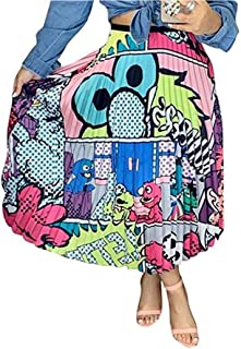 Raylans Falda plisada con estampado de dibujos animados para mujer