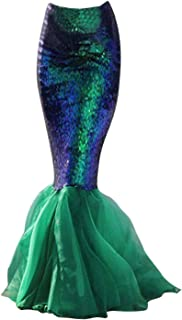 Quesera Women's Mermaid Tail Costume Sequin Maxi Skirt Cosplay Halloween Party Dress