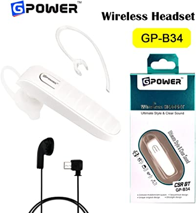 G-Power ®GP B34 Bluetooth Headset Earphone with Mic - Handsfree for Mobile (White)