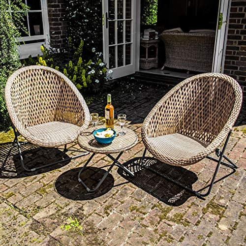 Dawsons Living Faux Rattan Bistro Set - Choice of Colours - Conservatory Garden Patio and Decking Furniture Chairs and Glass Top Table Set Garden Furniture & Accessories Garden & Outdoors