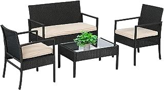 Wicker Patio Furniture 4 Piece Patio Set Chairs Wicker...