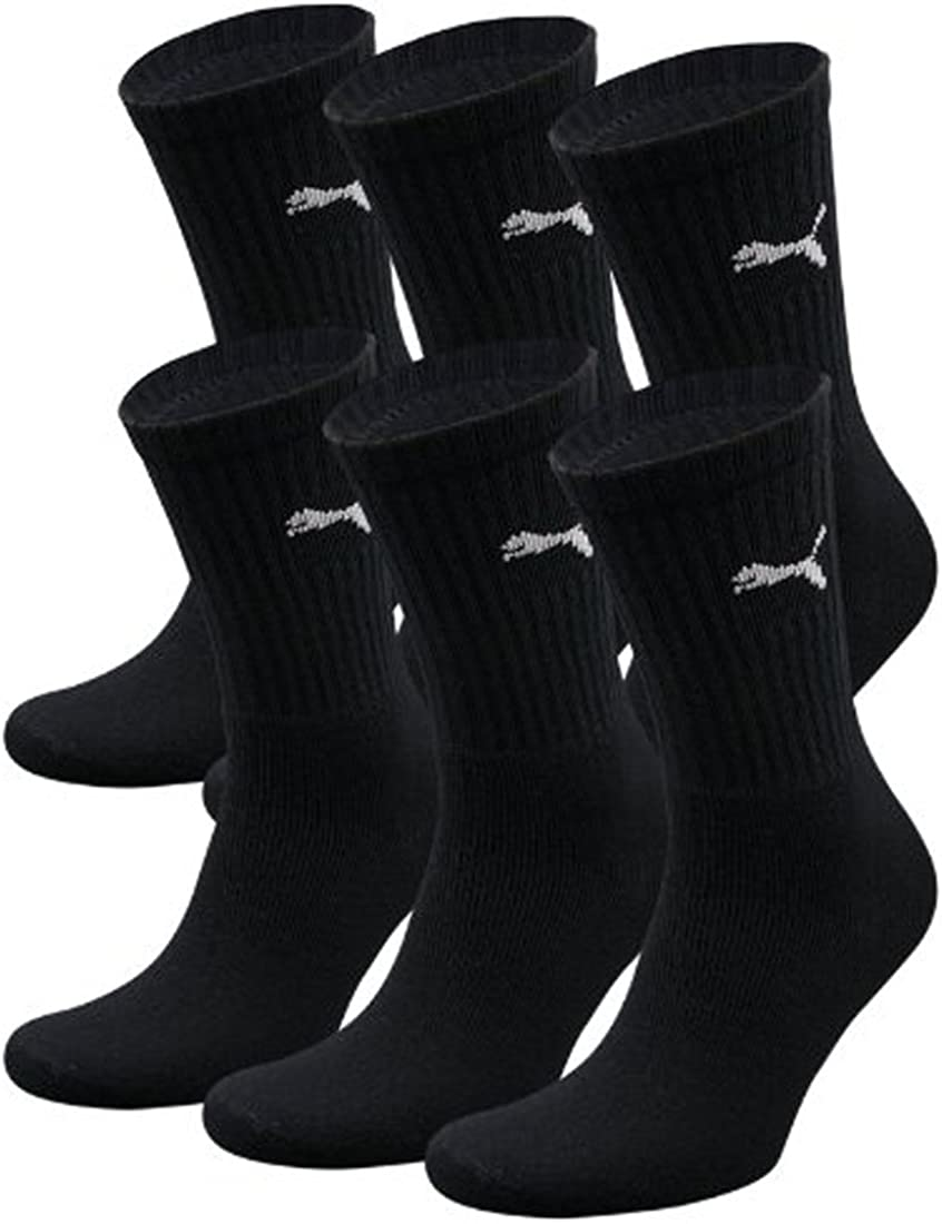 PUMA 2019 Mens Sports Regular Crew Soft Cotton Trainer Socks 3 Pack Black 9-11UK