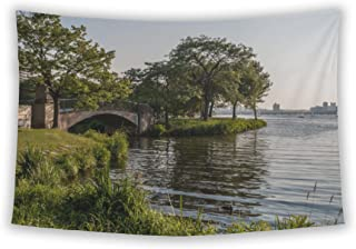Wall Tapestry For Bedroom Hanging Art Decor College Dorm Bohemian, Charles River Esplanade, 80x68