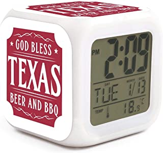 Texas Independence Day God Bless Texas Beer and BBQ Alarm Clock Displays Time Date and Temperature Soft Nightlight for Kids Home Office Bedroom Heavy Sleepers