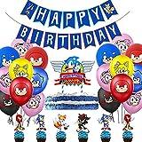 Fahnen-Set Happy Birthday Animation Sonic für Kinder mit Fahne und Dekoration für Haus für Partys, verschiedene bunte Luftballons und Kuchen