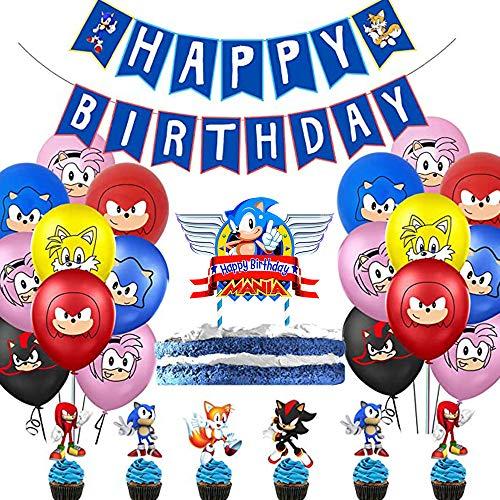 Decoración Conjunto de Banderín Feliz Cumpleaños de Dibujos Animados Sonic para Niños con Bandera y Adornos de Casa para Fiestas Surtido de Globos Multicolores y Tarjetas de Tarta