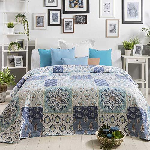 Sancarlos Estela Colcha Bouti, Azul, 180x270 cm, Cama DE 90