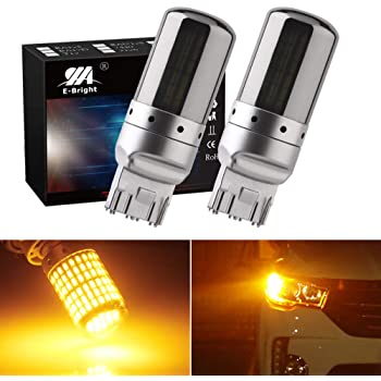 EverBright Silver Chrome 7440 Led Bulb Amber,No Hyper Flash T20 7440A 992 W21W Led Bulb For Front Rear Turn Signal Bulb, Canbus Error Free Led Turn Signal Light Yellow 3014 Chipset 144SMD, (Pack of 2)