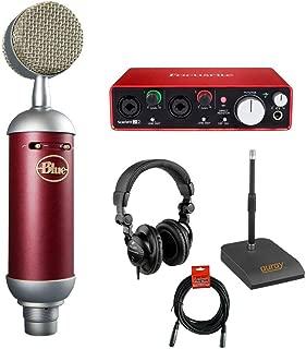 Blue Spark SL Large-Diaphragm Studio Condenser Microphone with Focusrite Scarlett 2i2 USB Audio Interface, Desktop Microphone Stand, Studio Headphones and XLR-XLR Cable
