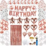 Best Pcs With Balloons Pumps - 100 pcs Rose Gold Birthday Party Decorations,Happy Birthday Review