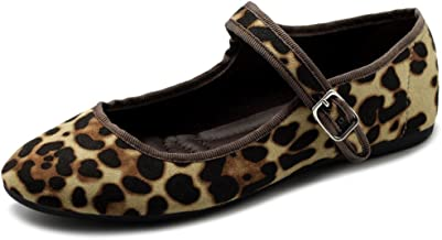 Ollio Women's Shoes Velvet or Faux Suede Mary Jane Ballet Flat