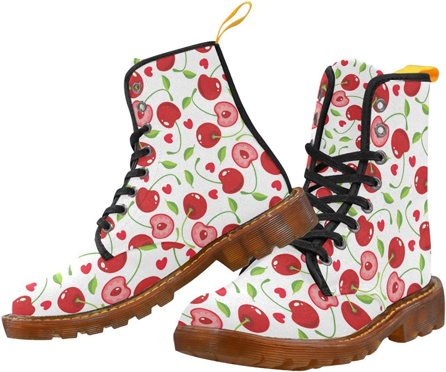 InterestPrint Women's Lace Up Boots Cherry Canvas Martin Boots Combat Ankle Booties shoes
