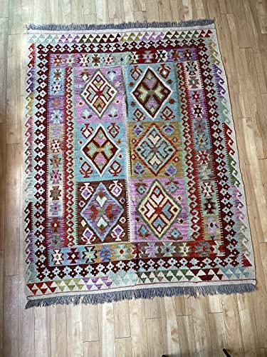 Alfombra oriental afgana, hecha a mano, de lana, colores naturales, estilo afgano, turco, nómada persa, tradicional, 157 x 197 cm, estilo vintage, pasillo y escalera reversible