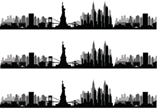 "New York Skyline Silhouette Pre Cut Edible Icing Cake Side Strips/Ribbons 3 x Pre-cut Strips of Icing – Each strip is 2.5"" in height x 10"" in width (5-10 BUSINESS DAYS DELIVERY FROM UK)"